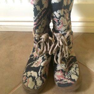 GUC Muk Luk Knit Slipper Boot